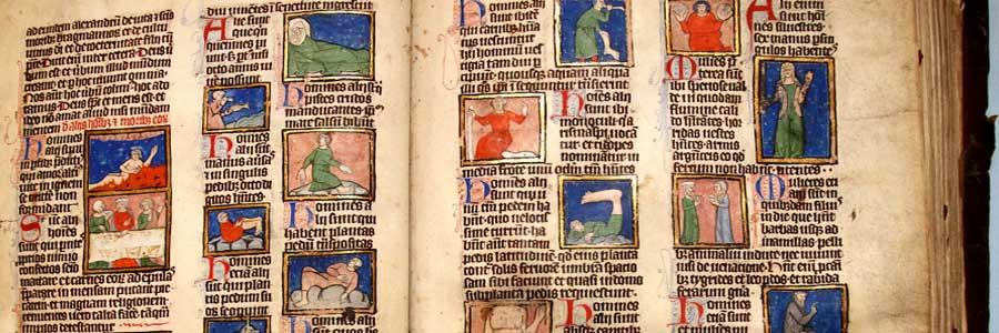 Widok starego rękopisu bogato iluminowanego